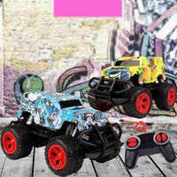 Off-road Vehicle Model Graffiti Toy Car Children's Four-way Remote Control Car Wireless Rc Car Q0726