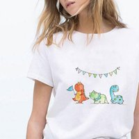 Oversized Dinosaur Print Tee Cost Women T Shirt effective Casual Hipster Girls Can Do Anything Instagram Clothes