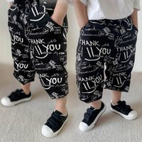Boys Trousers Fashion Cotton Baby Clothes Wear Summer Letter Casual Pants Kids Trouser 2-7Y B5377