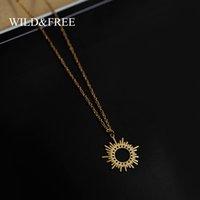 Для Wildfree Gold Circle женщины нерегулярное ожерелье из солнца из нержавеющей стали, выдолбленные круглый свитер подвеска ожелля