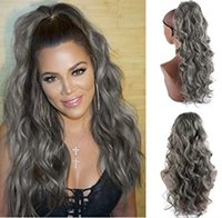 14inch Body Wave Gray Drawstring Ponytail for Black Women Clip in Ponytails Hair Extension brazilian Curly Wavy Pony Tail Hairpiece grey salt n pepper hairs 120g 140g