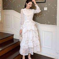 빈티지 봄 여성 레이스 자수장 가로복 러프 Layered Midi Long Dress 우아한 공주 파티 휴일 Vestidos 210514