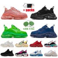 Triple S Sneakers أحذية رياضية فاخرة للرجال والنساء بتصميم غير رسمي أحذية رياضية 17FW باريس قيعان كريستالية عتيقة للقطب الشمالي لكمة باللون الوردي والأسود ونعل شفاف للمدربين