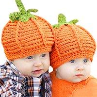 Caps & Hats 0-6m Born Hat Infant Baby Boy Girls Cute Pumpkin Cap Knit Bonnet Halloween Costume Pography Prop Accessories 2021