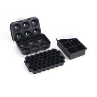 Conjunto de 3 bandejas de cubo de gelo de silicone com tampas de creme ferramentas tamanho grande tamanho para cocktails de uísque gelado reutilizável BPA grátis 1xbjk2107