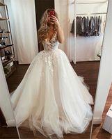 Verngo Vintage Lace Tüll Hochzeitskleid für Braut Elfenbein Weißer Hör-Form-Halsausschnitt Romantische Brautkleider