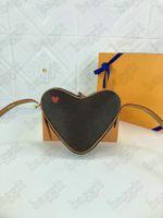 Oyun Coeur Tasarımcı Çanta Kırmızı Kalp Şekli Sikke Çanta Omuz Çapraz Vücut Küçük Çanta Kılıfı Cruise 2021 Çanta M57456