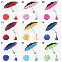 C Handle Inverted Umbrellas Non Automatic Protection Sunny Paraguas Rain Reverse Umbrella WLL554-5