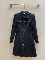 Платья Милана взлетно-посадочные полосы 2021 осень ослабесы шеи с длинным рукавом панель женского дизайнерского платья бренда та же стиль одежда 0822-25