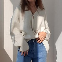 Women's Knits & Tees Colorfaith 2021 Winter Spring Sweaters V-Neck Buttons Cardigans Oversized Fashionable Korean Lady Knitwears SWC18190