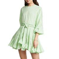 Günlük Elbiseler Pist Kadınlar Lüks Tasarımcı 2021 Kalite Kemer Vestidos Kadın Yüksek Bel İlkbahar Sonbahar Vintage Moda Elbise