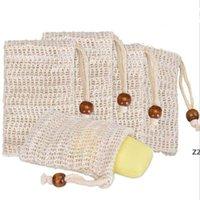 Sapone esfoliante sacchetti naturali ramie sapone sacchetto maglia con cordoncino per schiumatura e asciugatura del sapone HWWE9639
