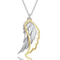 925 Sterling Silver Wing of Angel Halsband Hollow 18K guldfärg fjäder hänge kedja för kvinnor 2020 fina smycken bröllopsgåva