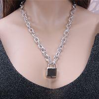 الكلاسيكية قفل 1 مجموعة = 1 سلسلة + 1 قفل + 1 مفاتيح الهيب هوب قفل قلادة قلادة الذهب الفضة قفل قلادة مع مفتاح 417 Q2