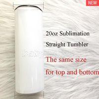Blank Bianco Sumblimation Straight Skinny Tumblers 20oz FAI DA TE Foto Bottiglie Bottiglie Estate Tazze di acqua portatile
