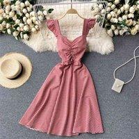 النساء الأزياء الحلو feifei الأكمام الصيف الرجعية منقوشة ضئيلة عطلة ألف خط اللباس الكورية الملابس vestidos R955 210527