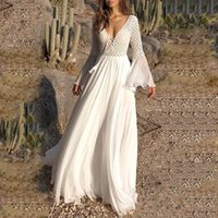 Casual Dresses Fanco Bohoartist Women Long Flare Sleeve V Neck White Hollow Boho Lace Maxi Dress Female Holiday Chic Summer