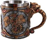 Retro Dragon Reçine Paslanmaz Çelik Bira Kupa Kafatası Knight Tankard Cadılar Bayramı Kahve Fincanı Yaratıcı Viking Çay Kupa Pub Bar Dekorasyon