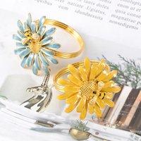 Tabela Guardanapo 2 Pcs Anéis Fivelas Fivelas de Bee Flores Forma Design Liga de zinco para jantar (cor mista)