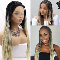 Synthetic Wigs Braided Straight Box Braids Cosplay Lace Front Twist Crochet Braiding Hair For Afro Black Women Daily Wear