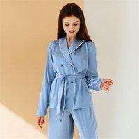 Heechan Blue Blue Patchwork Pajamas Pyjamas Femmes avec Sashes Manches Longues Pantalons Lâche 2 pièces Ensemble Home Wear Femme Costume Ensembles Casual 210320