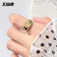 Cluster Anéis Xiha Gold 925 Sterling Silver para Mulheres Minimalista Ajustável 2021 Gótico Quadrado Cristal Estrela Anel Coreano Estilo Jóias