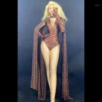 Мода Reopard Pattern Hollow Bodysuit Перчатки для боди Шаль Печатная вечеринка на день рождения Опыт DS Женщин Певица Танцор Performance Costume1