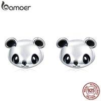 Bamoer Genuine 100% 925 Esterlina Prata Coleção Animal Cute Panda Brincos Para As Mulheres Esterlinas De Prata Jóias 210325