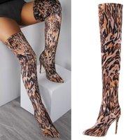 Boots Women's Pointed Toe Stiletto Super High Heel Over Knee Unique Leopard SdeZipper Faux Suede Rubber Sole Sexy Winter