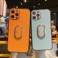 Moda rosa câmera luminosa proteção de couro casos de telefone para iphone 12 11 pro x xr max glitter com suporte