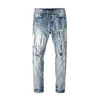 2021 Erkek Tasarımcı Kot Sıkıntılı Yırtık Biker Slim Fit Motosiklet Denim Erkekler için En Kaliteli Moda Jean Mans Pantolon Yayınlar # 002