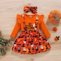 Enfants Vêtements Ensembles Girls Halloween Outfits Tops Flying Sleeve Flying + Pumpkin Ghost Strap Robe + Bow 3PCS / Set Spring Automne Fashion Vêtements bébé