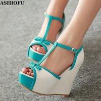 -sale Femmes à la main Wadge Sandals Talon T-Strap Peep-Toe Party Chaussures de bal Chaussures sexy Plate-forme Soirée Fashion