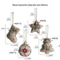 Ropa de Navidad Colgante Árbol Impreso Pequeño Correa Ornamento: Calcetines de estrella de cinco puntas Bola Mall Decoración Adorno Embellecimiento Exquisito FWD8826