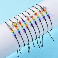 Vente en gros Bohemian Rainbow Strands Brocelets Perle Brocelets de papillon Noir Corde tressé à la corde à tricoter Bracelet réglable 1191 B3