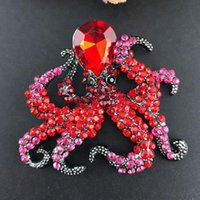 Pins, Brooches 10pcs Fashion Red black blue Acrylic Sparkly 50mm Octopus Ocean Animal Rhinestone Brooch Pin For Party gift