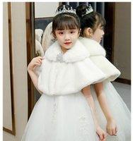 Jackets Flower Kids Girls Winter Faux Fur Coat For Wedding Formal Dress Thicken Plush Shawl Wrap White Red Bolero Shrug Cape With Brooch