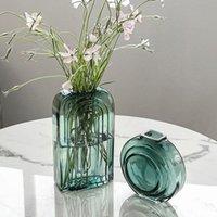 화병 노르딕 녹색 스타일 검은 유리 꽃병 라운드 현대 장식 꽃 냄비 테라 리움 테이블 선박