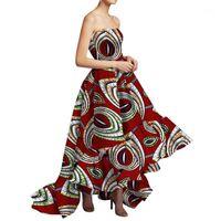 Nuevo vestido de África Danshiki para mujeres Bazin Riche Sexy Slash Cuello Boda fiesta largo Vestido largo Ropa africana tradicional WY56841