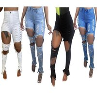Women Jeans Hole High Waisted Skinny Denim Stretch Slim Pants Calf Length Bell Bottom Ladies Fashion Trousers