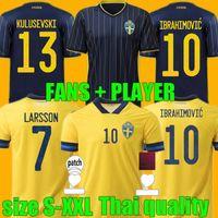 Versión del jugador de fans 2021 2022 Suecia Soccer Jersey Home Alojamiento 21 22 Sverige forsberg Lindelof Berg Ibrahimovic Team Football Shirts Uniformes Top Thai