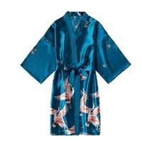 Moda Satin Robe Kobiet Szlafrok Sexy Peignoir Femme Silk Kimono Bride Dressing Gown Sleepwear Night Rosną dla kobiet