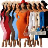 Jesienne kobiety żebrowane dzianiny sweter sukienki moda poza ramieniem z długim rękawem jednolity kolor casual maxi spódnica S-XXL