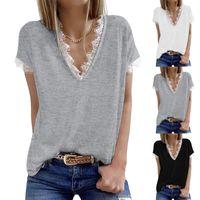 Women's T-Shirt Womens Summer Sexy Leoprad Print Dot Lace Patchwork Casual Off Shoulder Short Tank Shirt Beach Vest Camisole Tops 2021