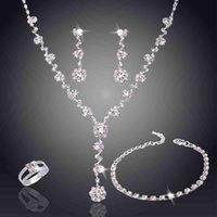 Collar de perlas de cristal de lujo de la moda de la moda de la moda de la boda de la boda de las mujeres / pulsera / anillo / aretes conjuntos de joyería de las señoras para novios