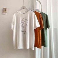 TwicEfanx Harajuku T Shirt T-shirt da donna Abbigliamento Castelli vintage manica corta Top Kawaii Estate Tees cotone dipinto a mano 788b 210602