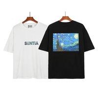 Europe USA Spring Summer Casual T Shirt Starry Night Painting Skateboard Tshirt Men Women Short Sleeve streetwear Tee