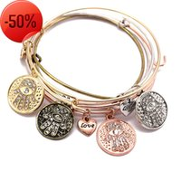 Wire Bangles Vintage Bronze Colors Alloy Crystal Hand Charms Expandable Bangle Heart Pendant Cuff Bracelet Wholesale Women Accessories Gifts