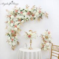 Decorative Flowers & Wreaths Artificial Flower Arrangement Set Gold Leaf Wedding Arch Backdrop Decor Corner Triangle Runner Wall Row Customi