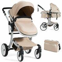 Дизайнерская роскошная коляска BabyJoy складной алюминиевый младенческий бассинец обратимый ребенок с Beige BB5347SA